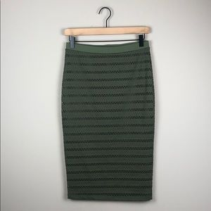 Bebe High-Waisted Olive Green Pencil Skirt (Small)